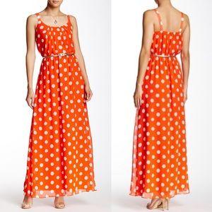 ELIZA J Sleeveless Woven Dot Maxi Dress